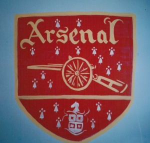 Arsenal badge mural, Haverfordwest Dec 1996