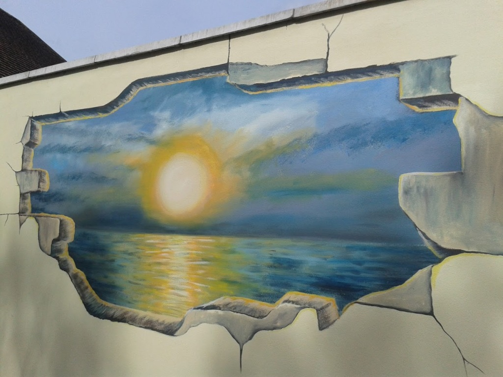 Lake Road sunset mural