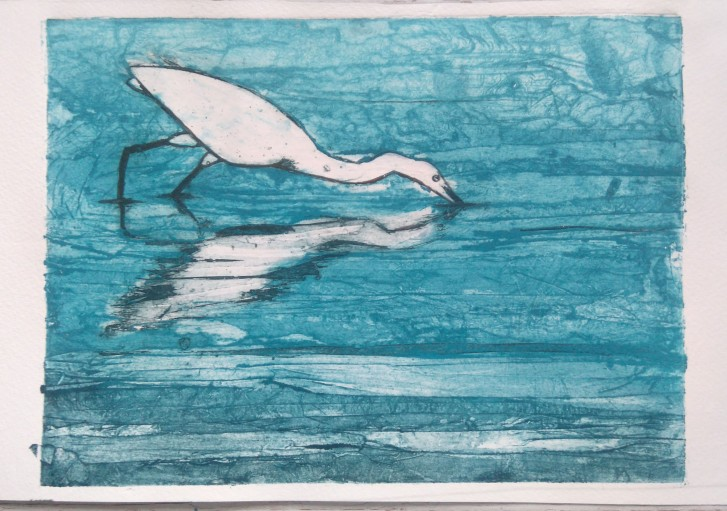 egret collagraph 1