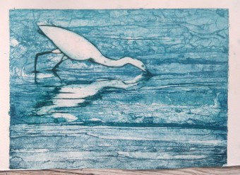 egret collagraph 2