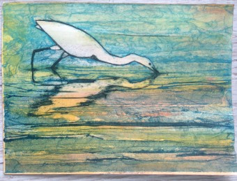 egret collagraph 3