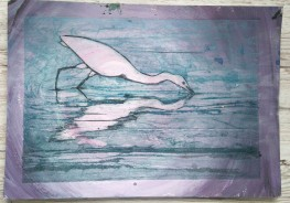 egret collagraph 4