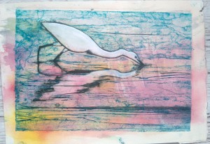 Egret Reflections Collagraph