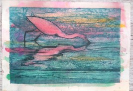 egret collagraph 6
