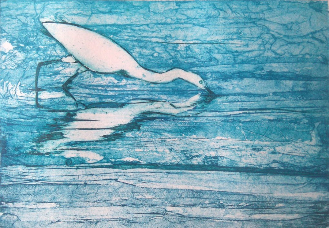 egret collagraph